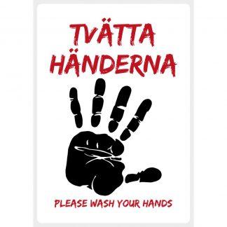 Dekal Vit - Tvätta händerna • Please wash your hands