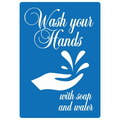 Wash Your Hands with Soap and Water - Dekal Blå